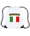 Italie nylon rugzak wit met italiaanse vlag