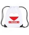 Polen hart vlag nylon rugzak wit