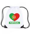 Portugal hart vlag nylon rugzak wit