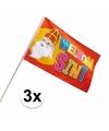Sinterklaas 3x luxe welkom sinterklaas zwaaivlaggetje 30 x 45 cm