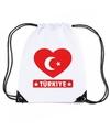 Turkije hart vlag nylon rugzak wit