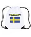 Zweden nylon rugzak wit met zweedse vlag